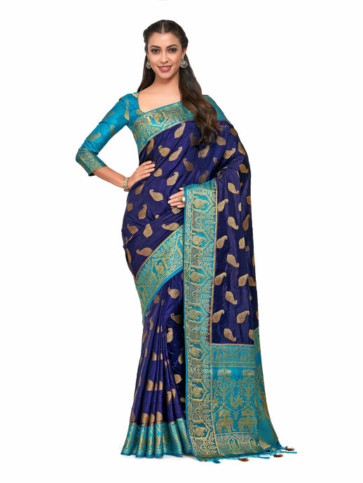 Mimosa Art silk Wedding saree Kanjivarm Pattu style With Contrast Blouse Color: Blue (4283-366-2D-NVY-AND) - Kupinda