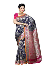 MIMOSA Floral Design Art Silk Kanjivaram Style Saree with Contrast Blouse in Color Navy Blue and Dark Pink (3392-r2-nvy-rni) - kupindaindia