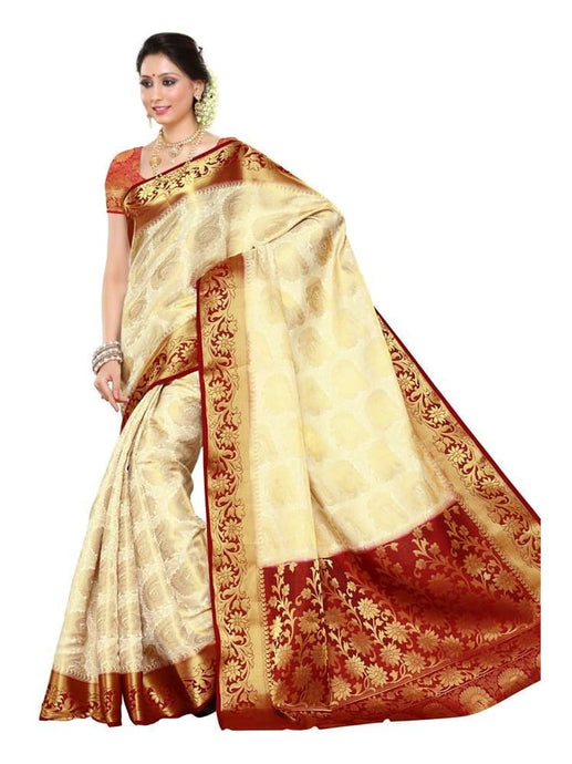 MIMOSA Wedding Style Kanjivaram Art Silk Saree with Un-Stitched Blouse in Color Off-White Maroon (3247-201-heht-mrn) - kupindaindia