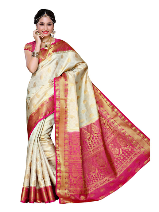 MIMOSA Festive Wear Motif Design Kanjivaram Art Silk Saree with Blouse - kupindaindia