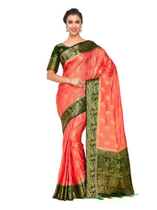 Mimosa Art silk Wedding saree Kanjivarm Pattu style With Contrast Blouse - kupindaindia