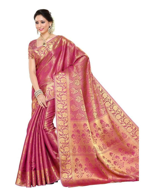 MIMOSA Woven Zari Design Kanjivaram Art Silk Saree with Blouse in Color Pink (3245-197-sd-pnk) - kupindaindia