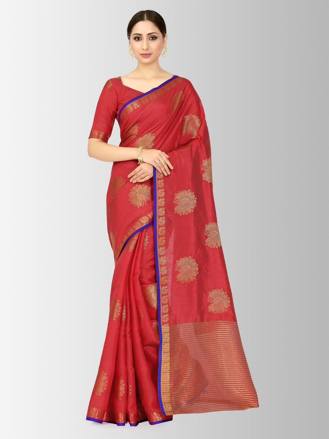 Mimosa kanjivaram style tussar silk saree color - red