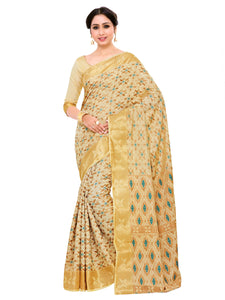 Mimosa kuppadam art silk saree with unstiched blouse - beige