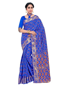 Mimosa kuppadam art silk saree with unstiched blouse - blue