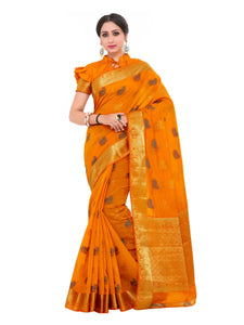 Mimosa kuppadam art silk saree with unstiched blouse - gold