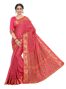 Mimosa kuppadam art silk saree with unstiched blouse