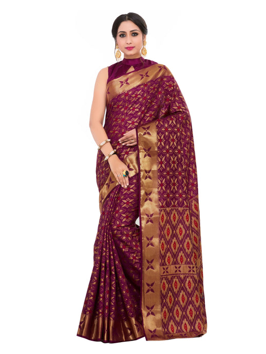 Mimosa kuppadam art silk saree with unstiched blouse -