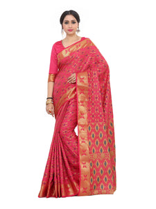 Mimosa kuppadam art silk saree with unstiched blouse - pink