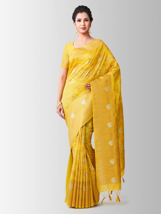 Mimosa lenin silk saree with unstiched blouse - gold