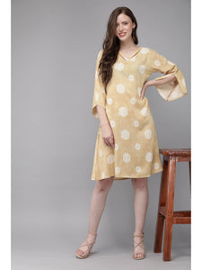Mimosa mustard yellow color printed v-neck a-line dress for