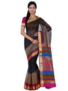 Mimosa net saree with unstiched blouse - black
