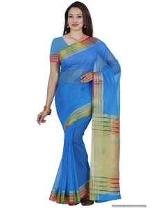 MIMOSA Multicolor Border Fancy Style Net Saree with Blouse in Color Sky Blue (3439-prs2-and-mlty) - kupindaindia