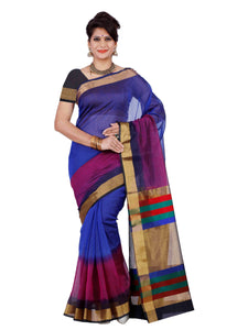 Mimosa net saree with unstiched blouse - blue