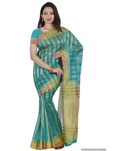 MIMOSA Multicolor Border Striped Design Net Saree with Blouse in Color Rama/Turquoise (3440-prs1-rma-mlty) - kupindaindia