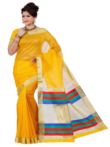 Mimosa net saree with unstiched blouse - gold