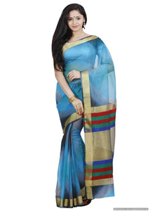 MIMOSA Multicolor Striped Design Net Saree with Contrast Blouse (3377-prs8-ak-2-gry) - kupindaindia