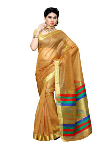 Mimosa net saree with unstiched blouse - mustard