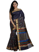 Mimosa net saree with unstiched blouse - navy blue