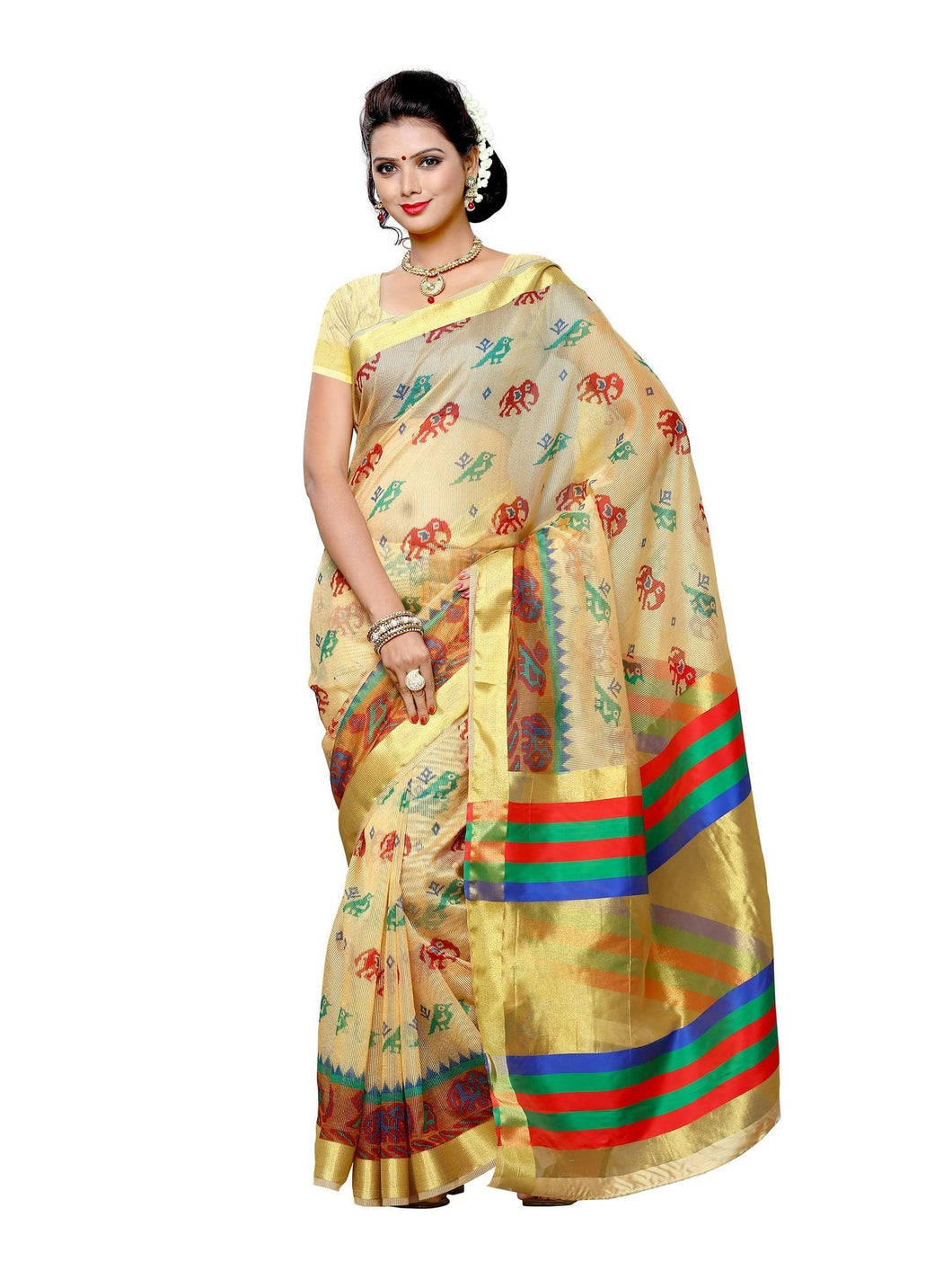 MIMOSA Ikkat Style Net Saree with Blouse in Color Chiku (3409-prs8-dya-1-cku) - kupindaindia