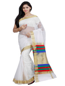 Mimosa net saree with unstiched blouse - off-white