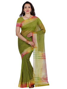 Mimosa net saree with unstiched blouse - olive