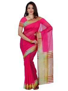 Mimosa net saree with unstiched blouse - pink