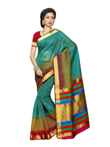 Mimosa net saree with unstiched blouse - turquoise