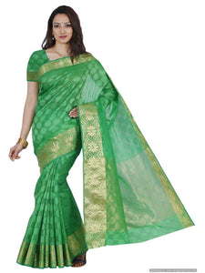 MIMOSA Fancy Style Orgenza Saree with Blouse in Color Parrot Green (3437-2106-pgrn) - kupindaindia