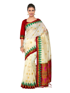 Mimosa Art silk Wedding saree Kanjivarm Pattu style With Contrast Blouse Color: Beige (4255-2268-2D-HWT-MRN) - kupindaindia
