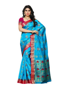 Mimosa paithani art silk saree with unstiched blouse - blue