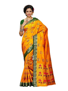 Mimosa paithani art silk saree with unstiched blouse - gold
