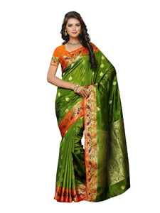 MIMOSA Indian Style Paithani Art Silk Saree with Blouse in Color Olive and Orange (3435-2105-olv-org) - kupindaindia
