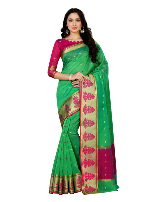 MIMOSA Kanjivaram Style Paithani Saree with Blouse in Color Green (4067-ab-10000-grn) - kupindaindia
