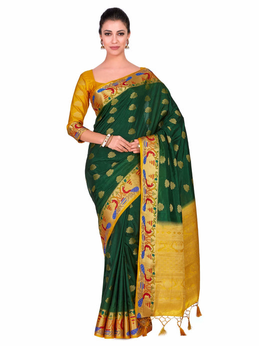Mimosa Art Wedding silk saree Paithani style With Contrast Blouse - kupindaindia