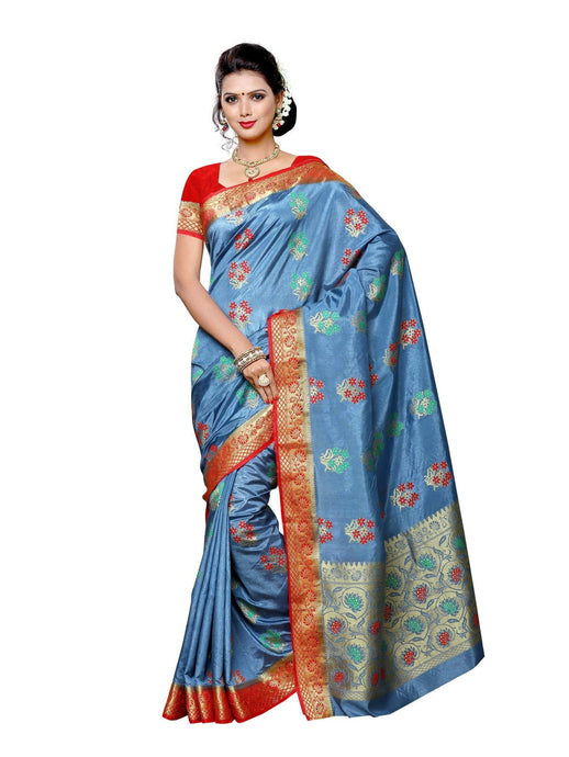 MIMOSA Floral Design Paithani Art Silk Saree with Blouse in Color Grey (3433-2102-grey-rd) - kupindaindia