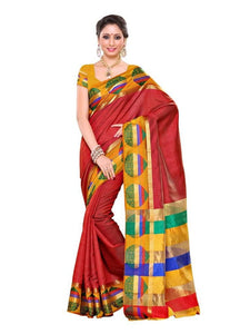 MIMOSA Multicolor Pallu Kanjivaram Art Silk Saree with Blouse in Color Maroon (3235-204-mrn) - kupindaindia