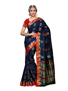 Mimosa paithani art silk saree with unstiched blouse - navy
