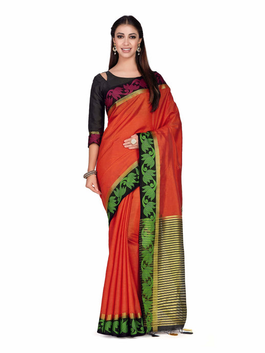 Mimosa Art  Tusser silk Wedding saree Paithani style With Contrast Blouse Color: Orange (4294-2132-2D-ORG-BLK) - Kupinda