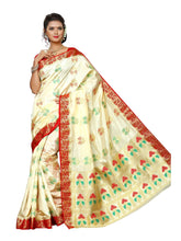 MIMOSA Kalamkari Style Paithani Art Silk Saree with Blouse in Color Off White (3434-2103-hwt-rd) - kupindaindia