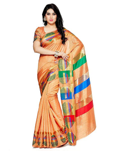 Mimosa paithani art silk saree with unstiched blouse - peach