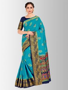 Mimosa paithani style art silk saree with unstiched blouse -