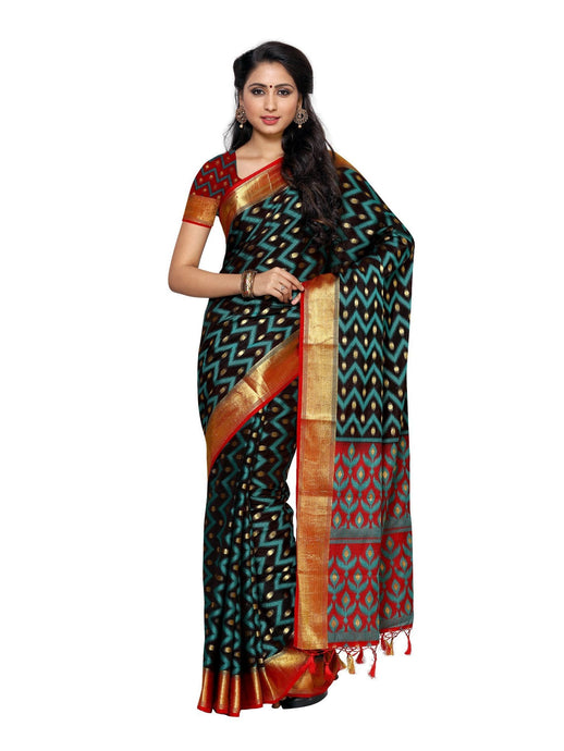 MIMOSA Ikkat Zig Zag Pattern Kanjivaram Style Silk Saree with Blouse in Color Black (4014-2135-2d-blk-rd) - kupindaindia