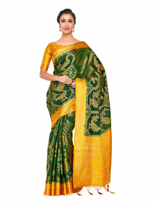 Mimosa Art Patola Wedding Sik saree Kanjivarm Style With Contrast Blouse - kupindaindia