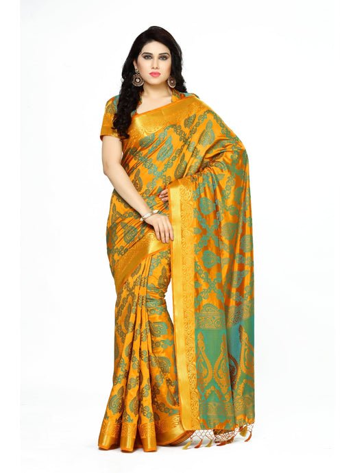 MIMOSA Designer Work Art Silk Kanjivaram Style Saree with Blouse in Color Mustard (4075-2147-MST) - kupindaindia