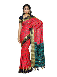 MIMOSA Ikkat Box Design Kanjivaram Style Silk Saree with Blouse in Color Strawberry (4013-2134-2d-strb-nvy) - kupindaindia