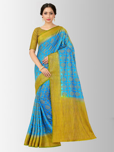 Mimosa patola style art silk saree with unstiched blouse -
