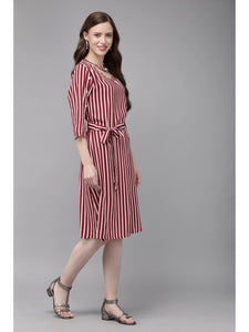 Mimosa purple color striped v-neck a-line dress for women