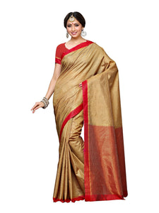 MIMOSA Striped Art Silk Kanjivaram Style Saree with Contrast Blouse in Color Chiku and Red (3389-prs10-2d-cku-rd) - kupindaindia