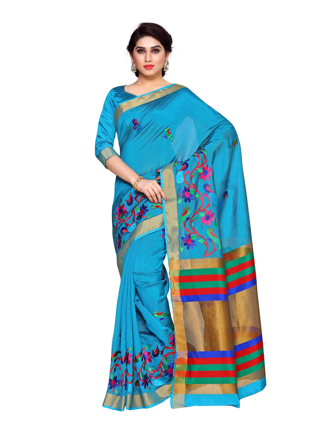 MIMOSA Latest Collection Hand Embroidery Work Art Silk Kanjivaram Style Saree with Blouse in Color Sky Blue (4137-prs15-am-11-and) - kupindaindia